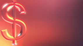 Glass dollar sign against red and orange background. 3D rendering Royalty Free Stock Image
