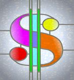 Glass dollar symbol. Stained glass illustration of dollar symbol in coloured glass and lead piping royalty free illustration