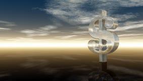 Glass dollarsymbol under molnig blå himmel Fotografering för Bildbyråer