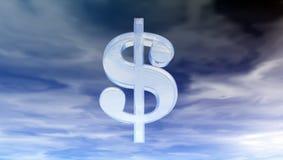 Glass dollarsymbol under molnig blå himmel Arkivfoto