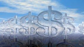 Glass dollarsymboler under molnig blå himmel Fotografering för Bildbyråer