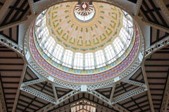 Glass Dome at the Central Market of Valencia Royalty Free Stock Images