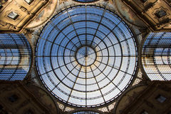 Glass dome of the Galleria shopping mall in Milan, Italy Stock Photos