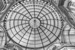 Glass dome of the Galleria Vittorio Emanuele II, Milan, Italy. MILAN - SEPTEMBER 11: Glass dome of the Galleria Vittorio Emanuele II, iconic shopping center and Royalty Free Stock Image