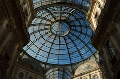 Glass dome in the center of the Galleria Vittorio Emanuele in Milan. Horizontal, nobody stock photography