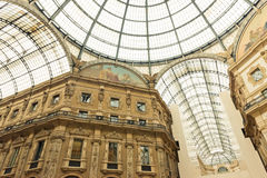 Glass dome of Galleria Vittorio Emanuele in Milan Royalty Free Stock Photography