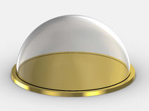 Glass dome on golden plate Royalty Free Stock Photography