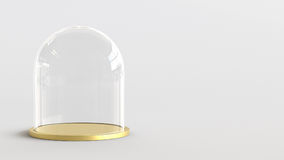 Glass dome with golden tray on white background. 3D rendering. Royalty Free Stock Photos