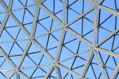 Glass Dome Greenhouse. Architectural detail of a glass dome greenhouse made of triangles forming hexagons Royalty Free Stock Photo
