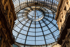 Glass Dome of Interior of Galleria Vittorio Emanuele II Royalty Free Stock Photography