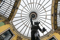 Glass dome and Mercury sculpture in Valladolid Royalty Free Stock Images