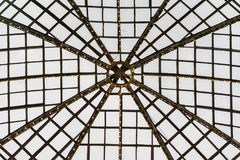 Glass dome with metal frame, armature. Graphic texture for modern Background Stock Image