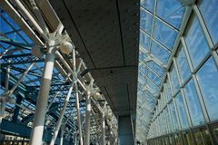 Glass dome with metal supports.The modern design of the bridge . Glass dome with metal supports. The modern design of the bridge stock photography