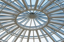 Glass dome of a modern building. View from the inside. Stock Photo