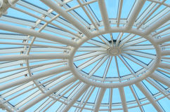 Glass dome of a modern building. View from the inside. Royalty Free Stock Images