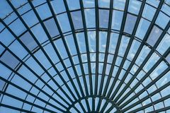 Glass dome. Modern radial glass dome of a modern building Stock Images