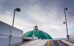 Glass dome, and parking garage ramp in Towson, Maryland. Stock Image