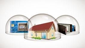 Glass dome - protection concept. House, credit card and wallet Royalty Free Stock Images