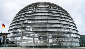 Glass dome of the Reichstag in the city stock photos