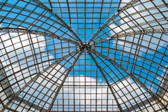 Glass dome roof is against the blue sky. Moscow, Russia Royalty Free Stock Photography