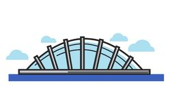 Glass dome situated on water under sky with clouds. Isolated cartoon flat vector illustration on white background. Creative architectural construction capacious Stock Photos