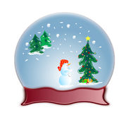Glass dome snow globe and snowman Stock Images