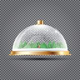 Glass Dome with Snow, Santa and Trees on Transparent Background. Royalty Free Stock Photos