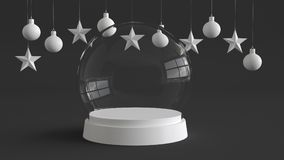 Glass dome with white tray on dark background with hanging white balls and stars ornaments. For new year or Christmas theme. 3D rendering Stock Images