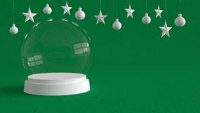 Glass dome with white tray on green canvas background with hanging white balls and stars ornaments. Royalty Free Stock Photos