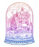 Glass done jar with snowy winter festive cityscape. The city on Christmas, New Year. stock illustration