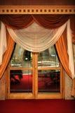 Glass door. Retro glass door with portieres royalty free stock photo