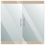 Glass door with chrome silver handles set Royalty Free Stock Image