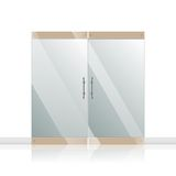 Glass door with chrome silver handles set Royalty Free Stock Photos