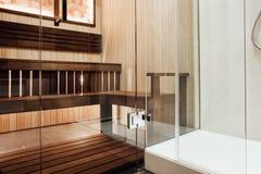 Free Glass Door Design In The Sauna And Shower Cabin With Metal Door Hinge Royalty Free Stock Image - 109811126