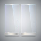 Glass door with reflection and shadows,  on grey background. Vector 3D illustration. Transparent glass door, for Stock Photography
