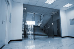 Glass doors. With a kind on a marble staircase Royalty Free Stock Photo