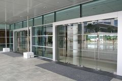 Glass doors. Glass door entrance to university Royalty Free Stock Photography