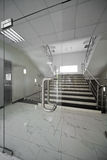 Glass doors. With a kind on a marble staircase Stock Photos