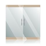 Glass doors with chrome silver handles set Royalty Free Stock Images