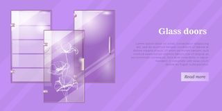 Glass Doors Conceptual Flat Vector Web Banner royalty free stock photography