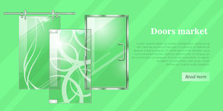 Glass Doors Conceptual Flat Vector Web Banner Royalty Free Stock Image
