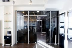 Glass doors in the new office Royalty Free Stock Images
