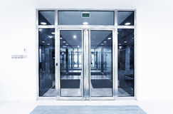 Glass doors in an office stock photos
