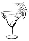 Glass with drink, black pictogram Stock Photos