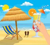 Glass of drink cocktail in hand. Landscape of wooden chaise lounge, umbrella, flip flops on beach. Day in tropical place. Vector illustration in flat style Stock Image