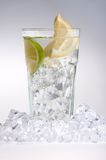 Glass Of Drink With Ice Cubes And Fruits On White Royalty Free Stock Photography