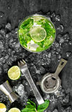 Glass drink lime mint ice. Tonik water, cocktail, mojito stock image