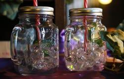 Glass drink med sugrör Fotografering för Bildbyråer