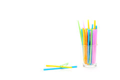 Glass and drinking straws Royalty Free Stock Photo