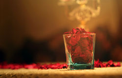 Glass of  dry flowers. A glass of dry flowers standing for love Royalty Free Stock Photography
